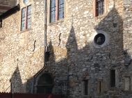Just inside the castle gates.
